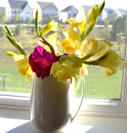Budget blooms, gladioli arrangement