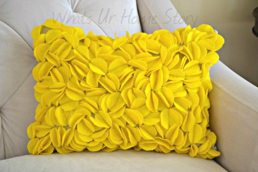 Whats Ur Home Story: Felt Circles Pillow, Yellow Pillow, DIY Felt circle pillow
