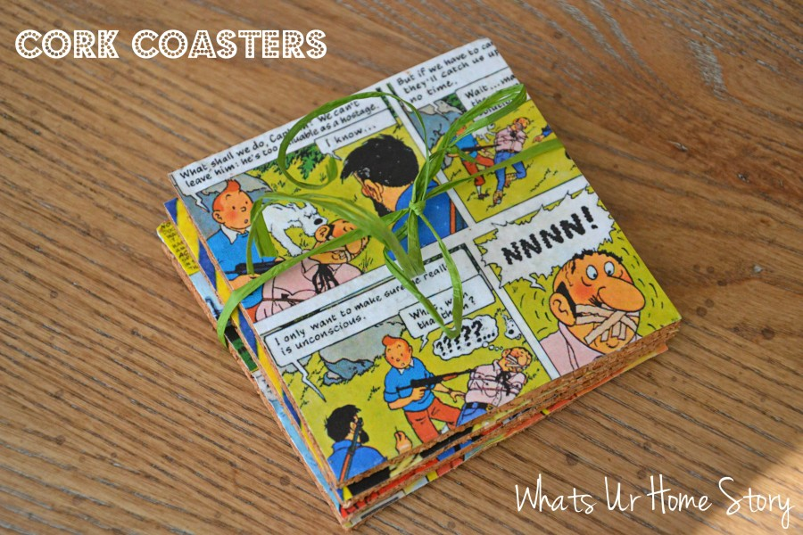 Whats Ur Home Story: DIY coasters, Cork coasters, vintage comic coasters,DIY Cork Coasters