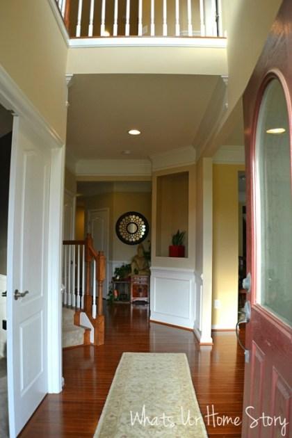 Whats Ur Home Story: Foyer Decor, Asian insired foyer, Indian home foyer, Neutral foyer,  Sherwin Williams Kilim Beige