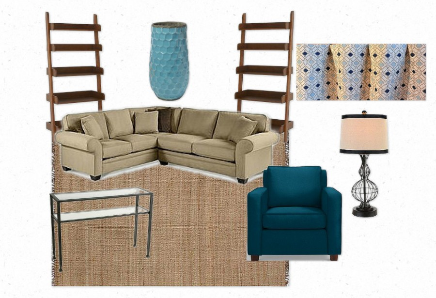 family room blue accents