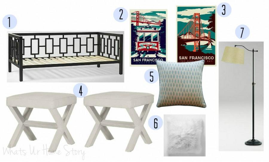Multifunctional Guest Room Mood Board, multi purpose guest room