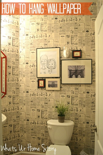 how to hang wallpaper, vintage newspaper wallpaper, wallpaper powder room, paste on the wall wallpaper