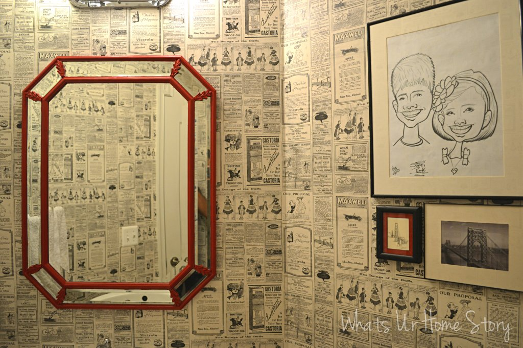 Wallpaper Direct, How to hang wallpaper, vintage newspaper wallpaper, wallpaper powder room, paste on the wall wallpaper, black and white gallery wall