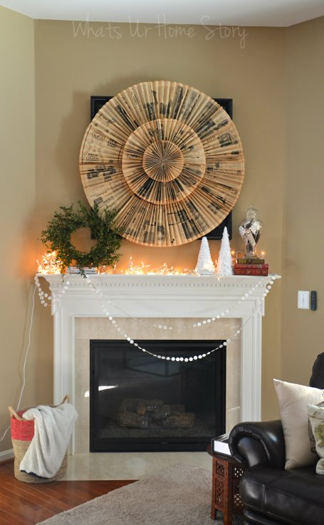 Whats Ur Home Story: Wintery  Mantel Decorations, Simple Winter Mantel, Rustic Winter Mantel, Simple winter centerpiece, simple winter decor