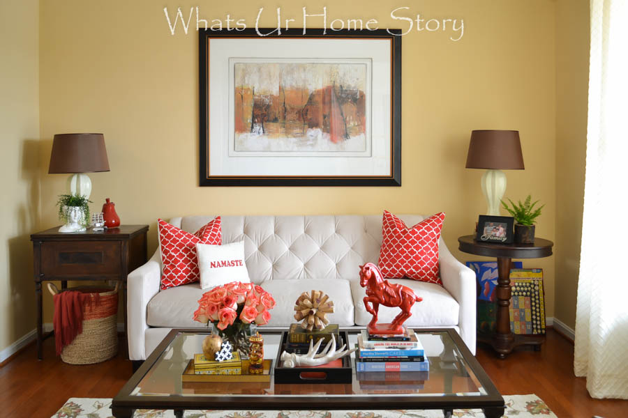 Transitional living room with red accents - Sherwin Williams August Moon