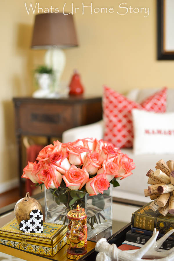Transitional living room with red accents - Whats Ur Home Story
