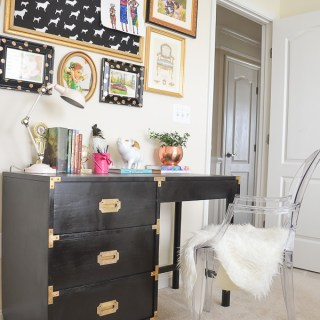 Glam girls room Black Campaign desk Gallery wall Ghost chair