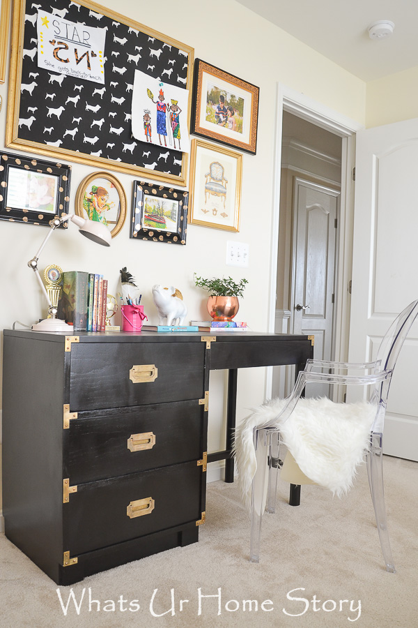 Glam girls room -Black Campaign desk, Gallery wall, & Ghost chair