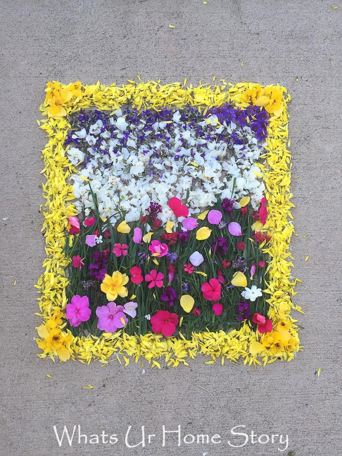 Monet inspired pookalam, Monet inspired flower rangoli, field of flowers painting rangoli