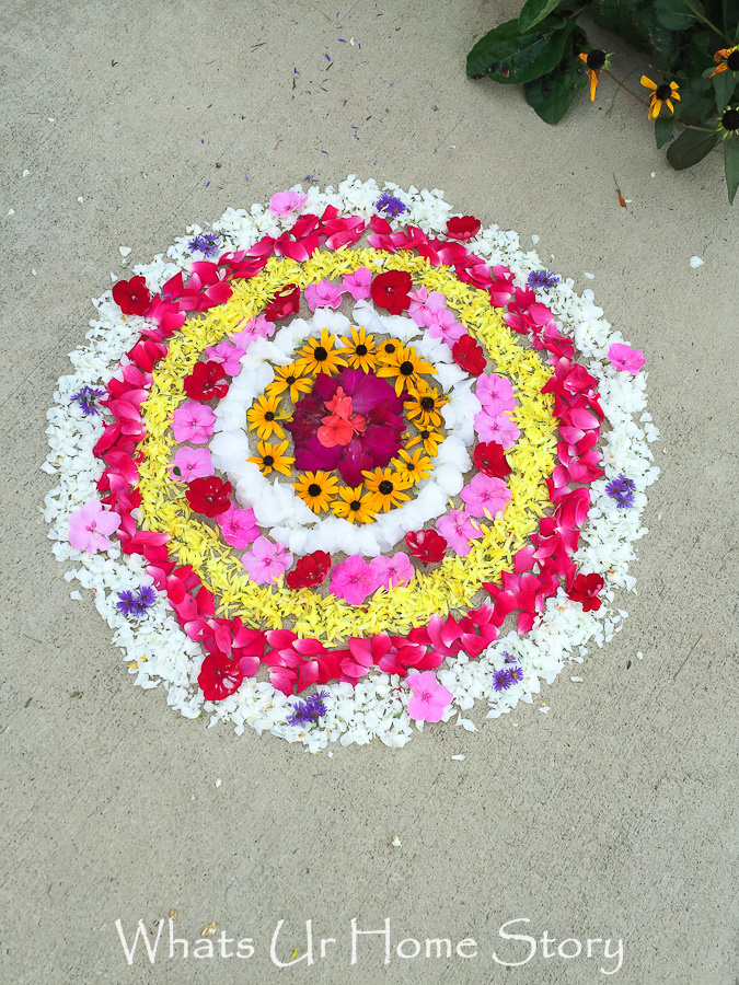 Traditional pookalam with concentric circles design for Onam festival