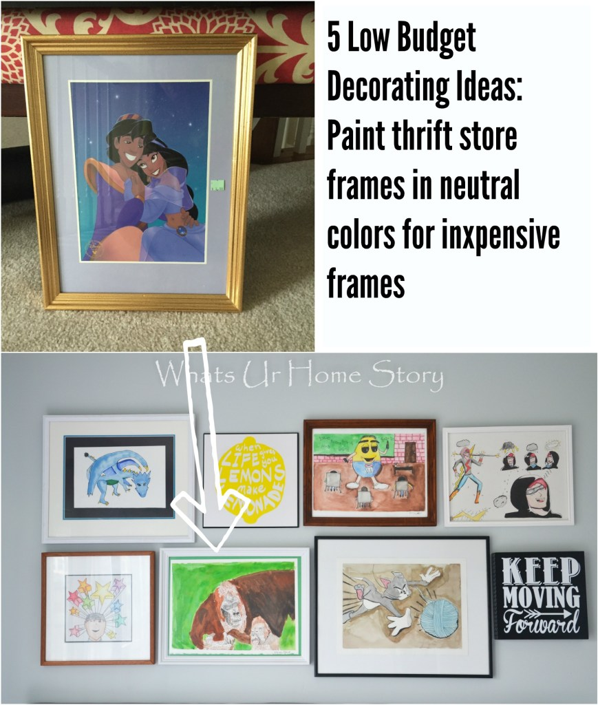 Low Budget Decorating Ideas- Paint thrift store frames in neutral colors