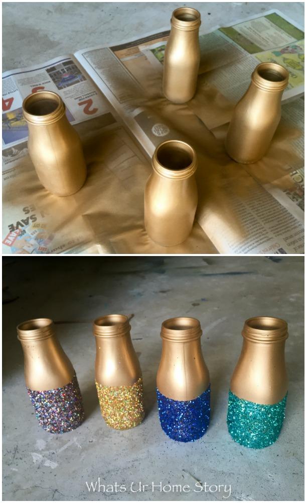 gold spray painted glitter vases diy