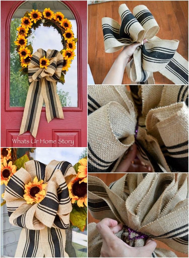 fall-sunflower-wreath-tutorial; how to make a big burlap bow