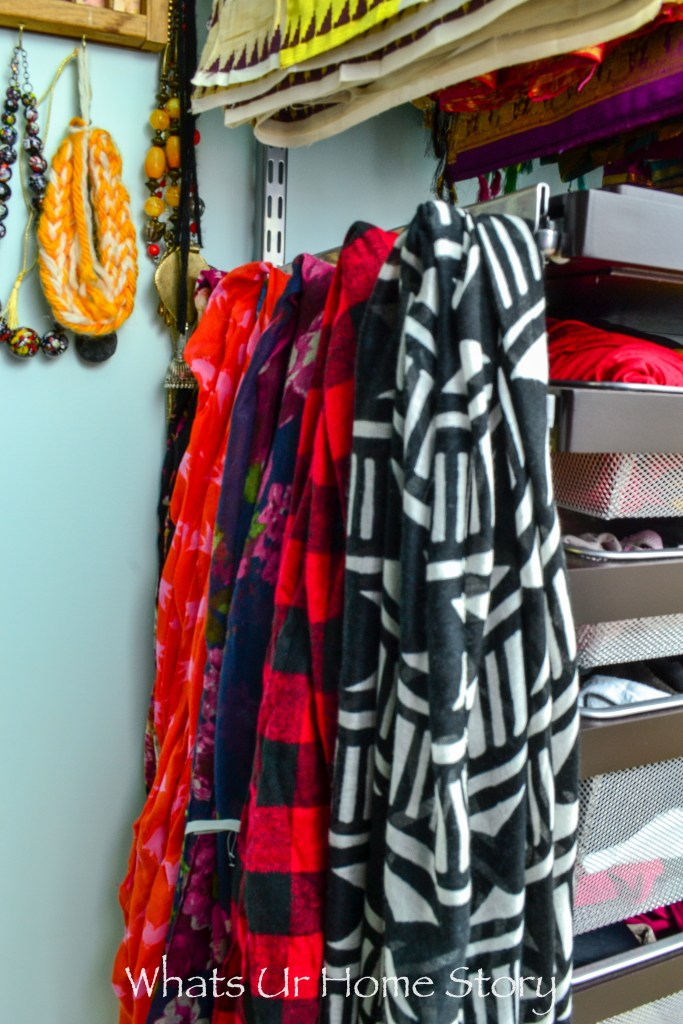 small-walk-in-closet-makeover-scarf-organization