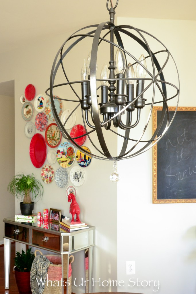 Bright-colored-plates-make-this-collection-of-plates-on-the-wall-more-interesting