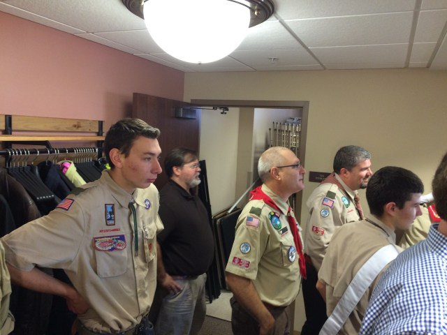 it was a packed house with many scouts and two scoutmasters extraordinaire - Mr. Cat and Mr. Peterson