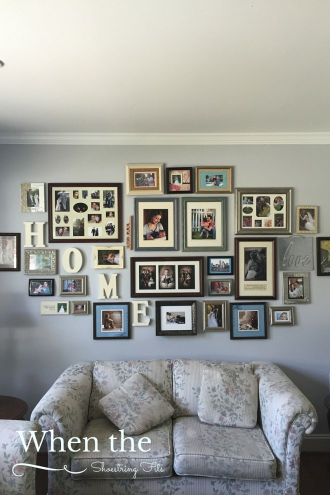 Our gorgeous gallery wall. It looks so much better by the grey wall then it did on the floor!