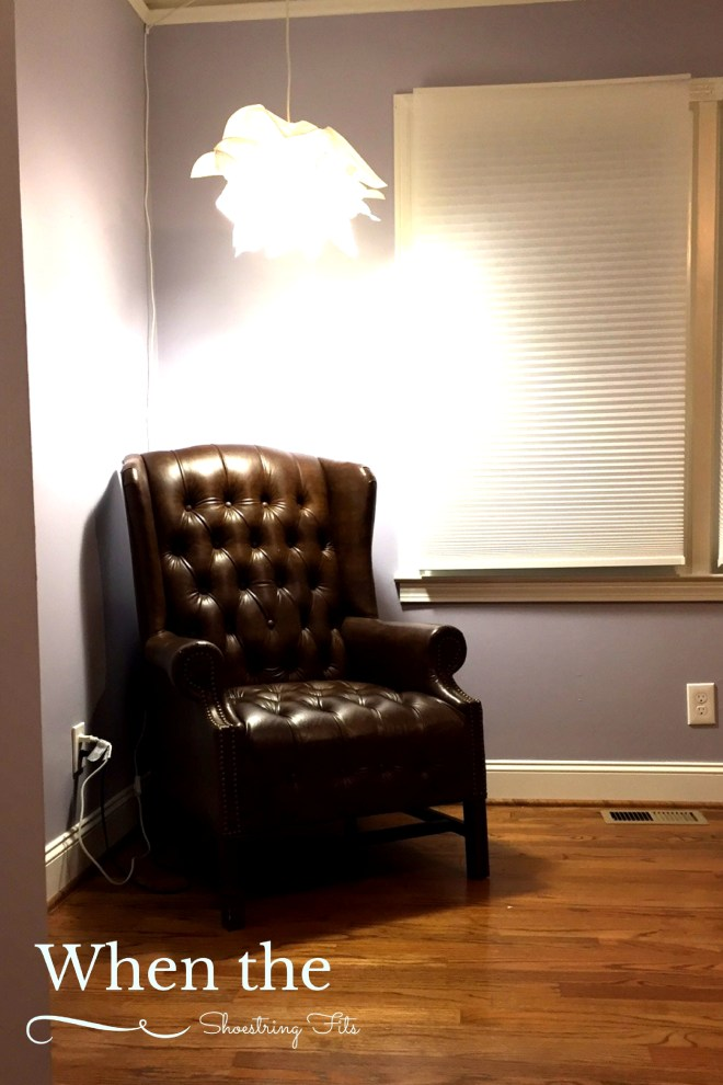 My husband found this awesome armchair for the guestroom reading nook. Now the IKEA lamp I'd used in the girls' Minneapolis nursery had purpose!