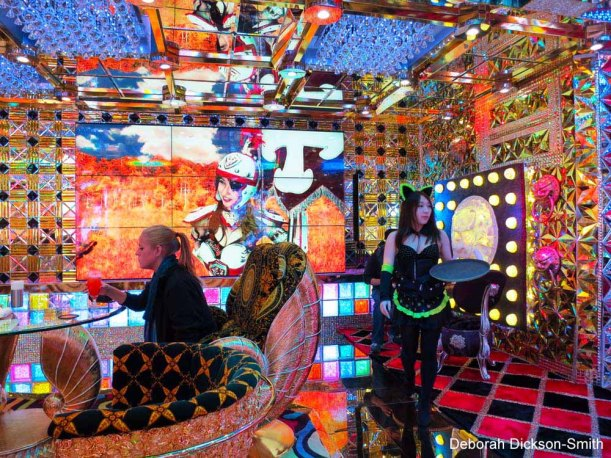 The lounge upstairs at Robot Restaurant, Shinjuku.