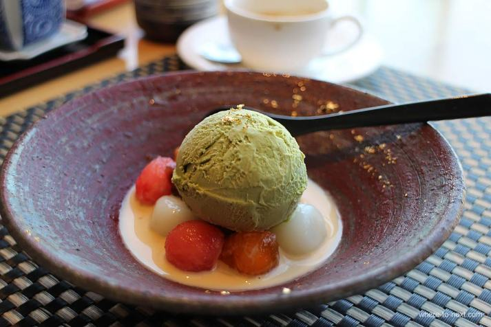 Green tea ice cream, Sushi To, Hong Kong