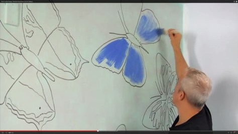 DIY Butterfly Mural, Painting the Butterflies