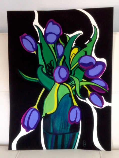 Lavender Tulips, Gouache on Paper, by Romi Cortier