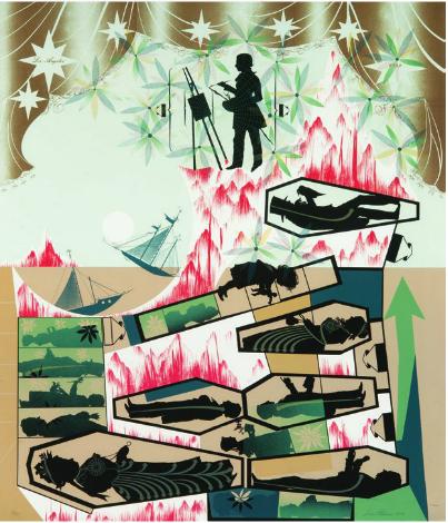 Lari Pittman, This Landscape, Beloved and Despised, Continues Regardless, LAMA, Lot 283
