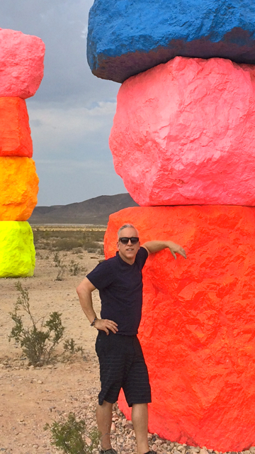 Romi Cortier at Seven Magic Mountains, Nevada, Photo by Tami