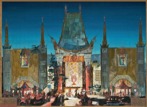 Grauman's Chinese Theater, Hollywood, Presentation paing by Architect Raymond M. Kennedy, about 1925. Tempera on cardboard.