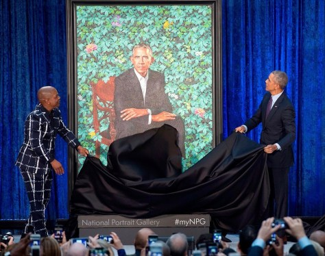 Artist Kehinde Wiley and President Barack Obama, Smithsonian National Portrait Gallery, Official Portrait Unveiling.