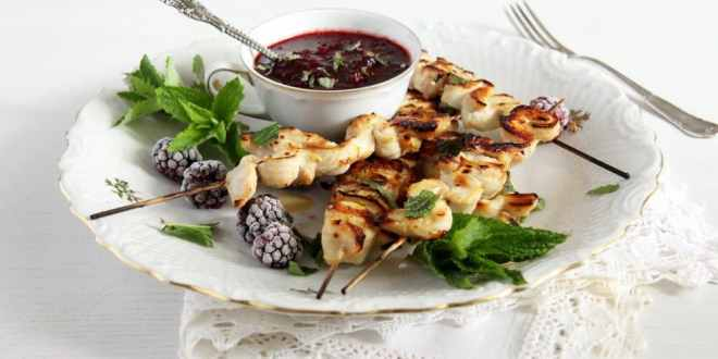 Chicken Skewers with Blackberry Sauce