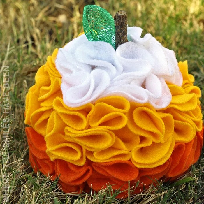 Candy Corn Ruffled Felt Pumpkin - Where The Smiles Have Been