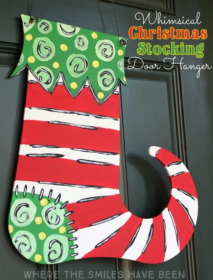 Whimsical Painted Christmas Stocking Door Hanger | Where The Smiles Have Been