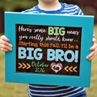 Sibling Pregnancy Announcement Chalkboard Sign