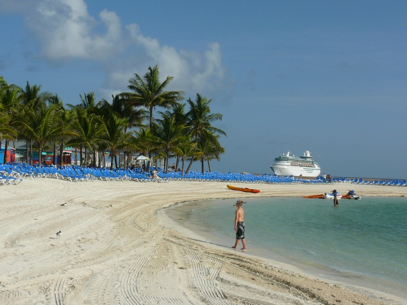 Exploring the cruise ship's private island in the Bahamas.