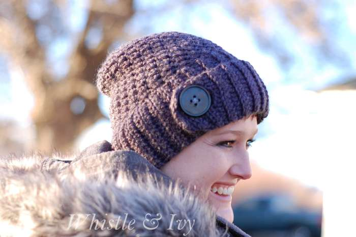 Free Crochet Pattern - Chunky Button Ribbed Beanie. The button detail goes perfect with the chunky ribbing on this hat. {Pattern by Whistle and Ivy}