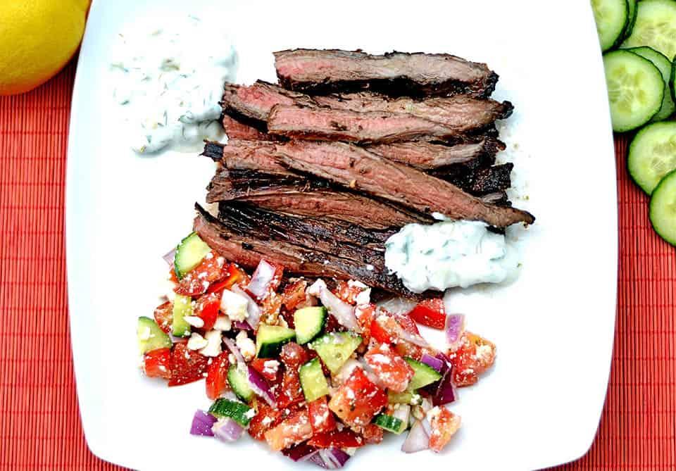 Grilled Greek Flank Steak with Tzatziki