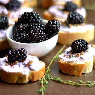 Blackberry, Goat Cheese, and Thyme Crostini