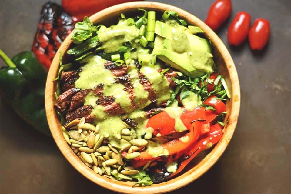 Grilled Fajita Steak Salad with Avocado Cilantro Dressing ...