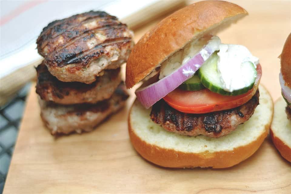 Grilled Turkey Burgers with Tzatziki