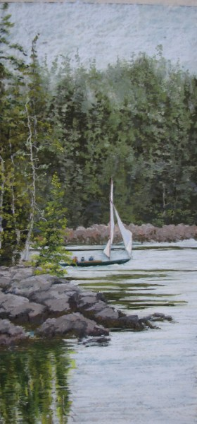 Pastel Sail Boat Painting