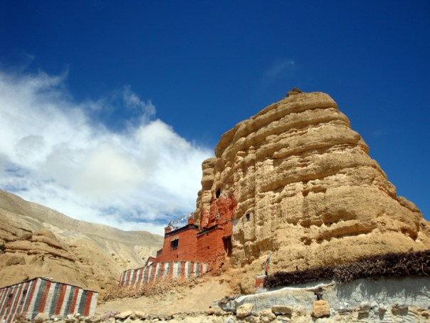 an ancient monastery on a cliffside near Lo-Manthang where buddhist monks study in isolation.