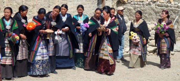 "During the festival of ""Yarthung"", Mustange Ladies waiting for the festival to start."