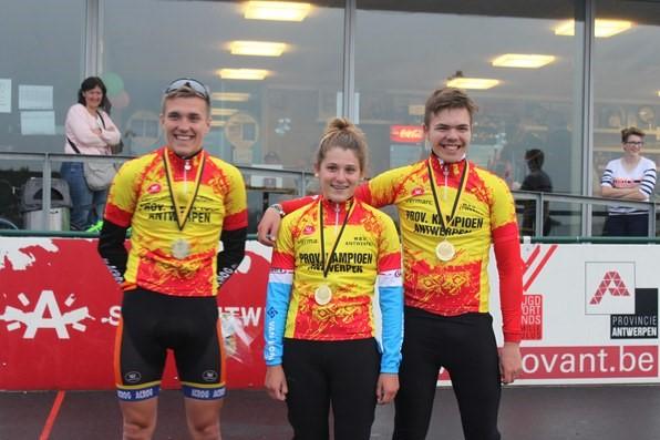 Provinciale kampioen piste 2016, Jarne Van de Paar, Farah Duym en Ruben Debreyne