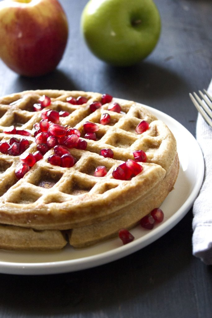 Brown Butter Waffles With Honey-Apples And Pecans Recipe — Dishmaps