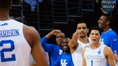 Kentucky bench reacts to Aaron Harrison 3-pointer