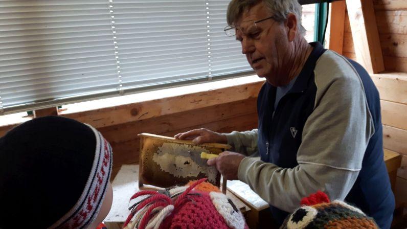 Ludwig Dietl zeigt den Kindern die mit Honig gefüllten Bienenwaben.