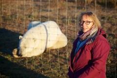 Susie Green and polar bear at Nanuk Lodge 2013