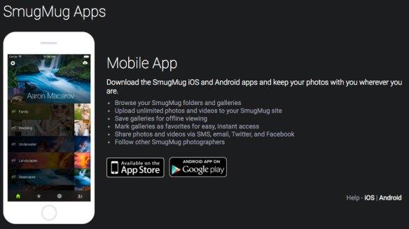 SmugMug Mobile App Page
